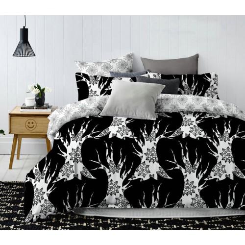 Pościel satyna bawełniana 200x220 3-częściowa wzór czarno-biała
