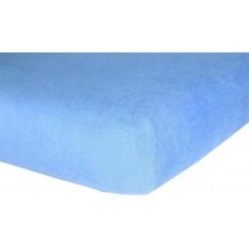 Prześcieradło frotte bawełniane z gumką 180x200 grube błękitne