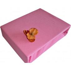 Prześcieradło jersey bawełniane z gumką 140x200 grube różowe