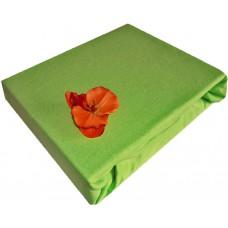 Prześcieradło jersey bawełniane z gumką 140x200 grube zielony groszek