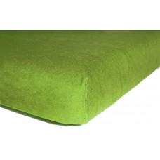 Prześcieradło z gumką do łóżeczka dziecięce 60x120 frotte zielony groszek