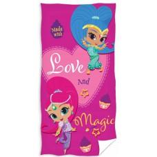 Ręcznik dziecięcy kąpielowy licencyjny 70x140 shimmer and shine wzór 96