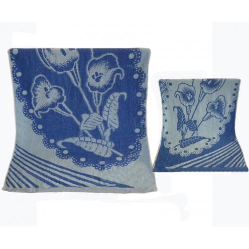 Ręcznik kąpielowy frotte 70x140 bawełniany wzór kwiat niebieski