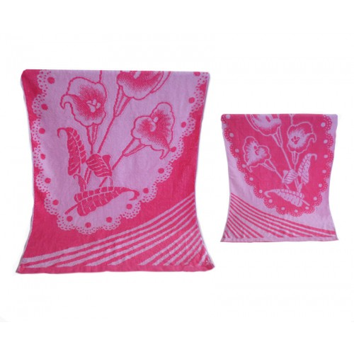 Ręcznik kąpielowy frotte 70x140 bawełniany wzór kwiat róż