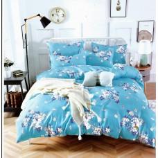 Pościel dziecięca 140x200  2-częściowa tania niebieska w kwiaty